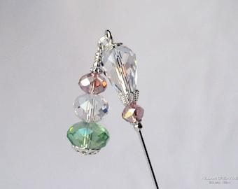 Salmon, Green, Clear Crystal Dangle Stick Pin, Hat Pin, Lapel Pin, Scarf Pin, H0345