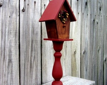 Pedestal Bird House, Decorative, Painted Wood, Birdhouse, Rustic Home Decor, Primitive Decor, Barn Red, Stained Wood, Indoor Bird House