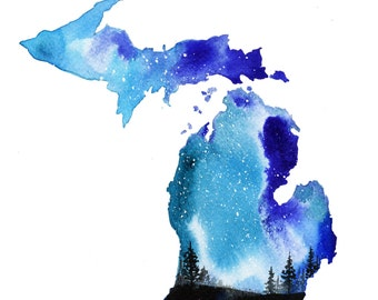 Michigan Blues, print from original watercolor print from the painting the 50 states series by Jessica Durrant