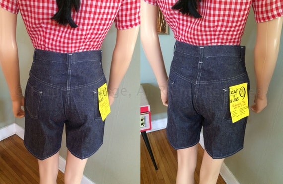 1950s Cat o 9 Lives High Waist Denim Pocketed Shorts-With Original Tags-S