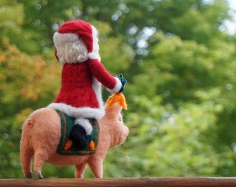 Minitature Christmas Decoration Needle Felted Father Christmas and His Pig- One-of-a-kind - Needlefelted Soft Sculpture