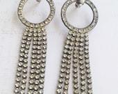 Gorgeous 80's Sparkly DANGLY Rhinestone Post Earrings/ 1980's GLAM // Deadstock Earrings