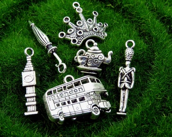 6 I LOVE LONDON Theme Charms - Assorted, Each Different - Antique Silver - Big Ben, Double Decker Bus, Palace Guard, Crown, Teapot, Umbrella