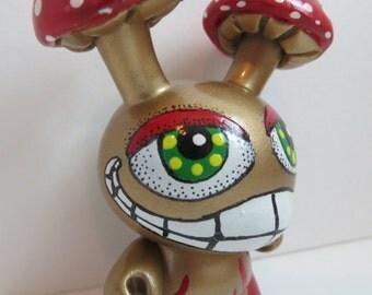 Custom Magic Mushroom Head Dunny OOAK Shroom Kidrobot Vinyl Art Toy