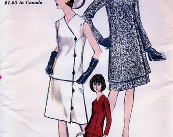 UNCUT * 1960s Vogue Pattern 6591  - Misses' Elegant Tunic Jacket or two-piece Dress   - Size 14 * bust 34