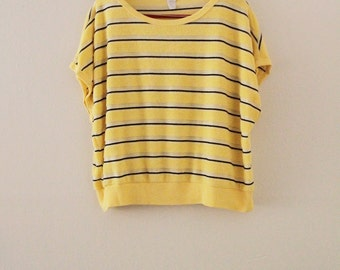 80's Yellow Striped Terry Top
