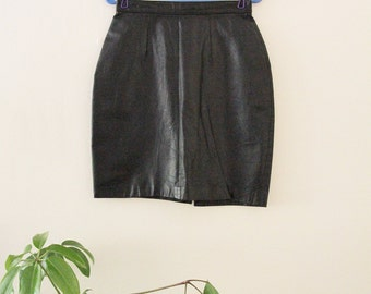 80's Black Leather Mini Skirt