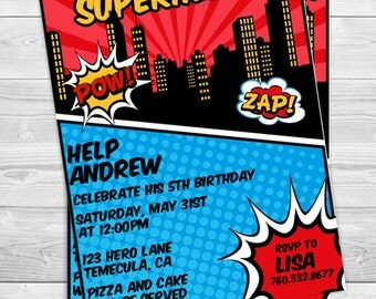 Calling All Superheros - Birthday Party Invitation Professionally printed *or* DIY printable PDF