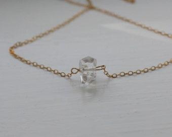 Herkimer Diamond on goldfill chain