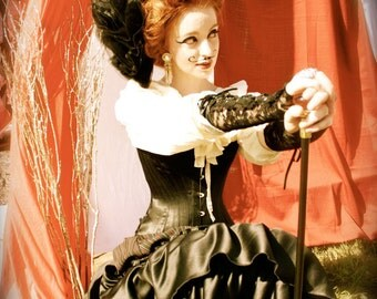 Victorian Circus Corset in Black Satin Coutil c. 1880, burlesque cosplay costume steampunk hourglass nipped in waist