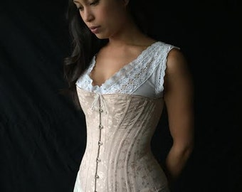 c. 1880 Victorian Corset in Pastel Rose Brocade Coutil, spoon busk back lacing hourglass curvy