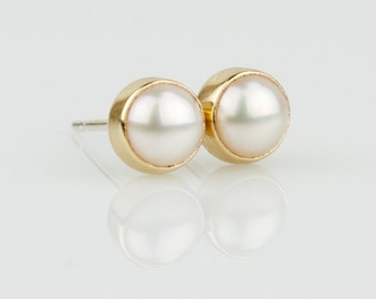 Natural Pearl 14k Yellow or White Gold Studs Earring - Solid 14k Gold Post Earring - Genuine Pearl June Birthstone