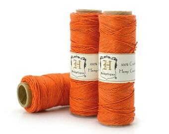 Orange Hemp Cord, 0.5mm, 205 Feet Spool, Hemp Jewelry Cord, Thin Hemp, Macrame  Cord / Hemptique / Hemp Twine -TW2