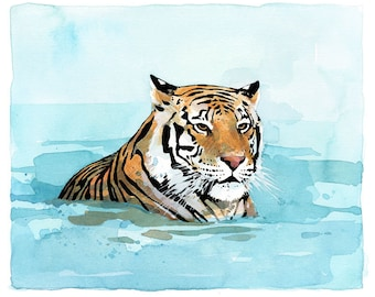 Tiger Watercolor Art Print 8x10, boys room decor, animal painting print