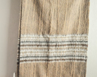 Vintage Mohair Scarf Wide Woven Soft Wool Natural Browns
