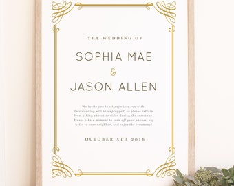 Instant DOWNLOAD Wedding Welcome Sign Template - Classic Frame - Word or Pages MAC and PC - 18x24 or 24x36 - Editable Colors