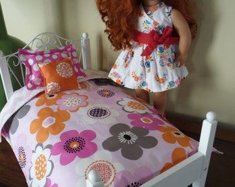 3 Piece Doll Bedding Set, Comforter, Pillow Sham, Accent Pillow, American Girl, 18 Inch Doll, Pink and Orange Flowers Doll Bedding Gift Set