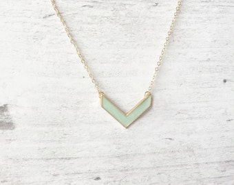 Mint and Gold Chevron Necklace Spring