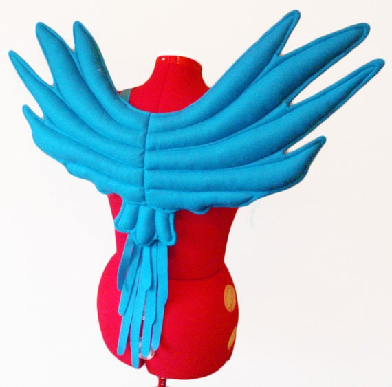 Blue Macaw Wings. Parrot Bird. Quality Made, Wire Free, Long Lasting.