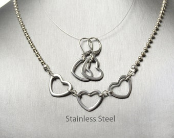 Valentines Day Heart Necklace and Earrings Set, Floating Hearts, Stainless Steel Jewelry, Stainless Steel Chain, Lever Back Earrings
