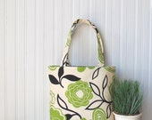 Tote Bag Floral, Handbag, Canvas Tote Bag, Purse, Green Floral Bag, Book Bag, Summer Tote Bag Bridesmaid Gifts, Greenery, Gift Idea