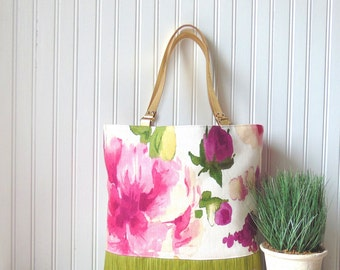 Handbag, Shoulder Bag, Purse, Floral Tote, Pink Floral Bag, Large Totebag, Handmade Bag, Handbags, Gold Leather Straps Handbag