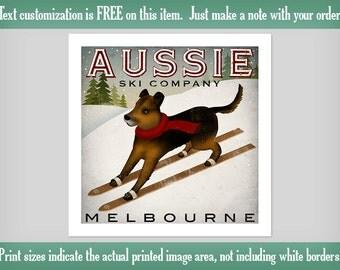 AUSSIE Australian Shepherd Ski Company Archival Pigment PRINT
