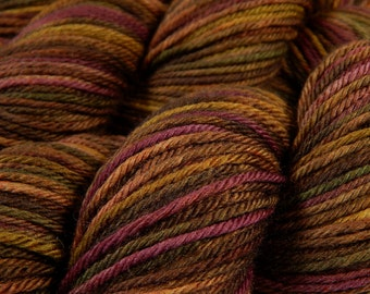 Hand Dyed Yarn - Worsted Weight Superwash Merino Wool Yarn - Clove Multi - Hand Knitting Yarn, Worsted Yarn, Brown, Beet, Gold