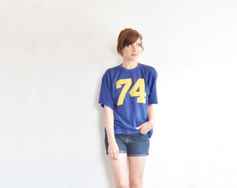mid century football sweater . jersey number 74 . athletic royal blue golden yellow .medium.large .sale