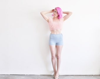 pastel blue high waist shorts . tap pants . retro slim short .extra small.xs .sale