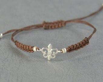 Sterling silver Lis Flower  bracelet.Templar bracelet.Middle ages