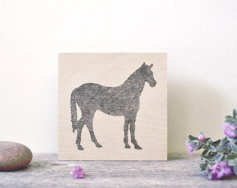 "modern minimal rustic equestrian art: ""black horse,"" as seen in House & Home magazine"