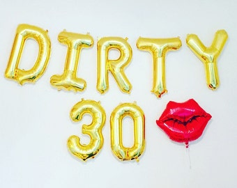 Dirty 30 Balloons, Dirty 30 Party, Dirty 30, 30th Birthday Party, 30, 30th Bday,Thirty and Flirty,Feeling Flirty at 30,30th Bday Decoration