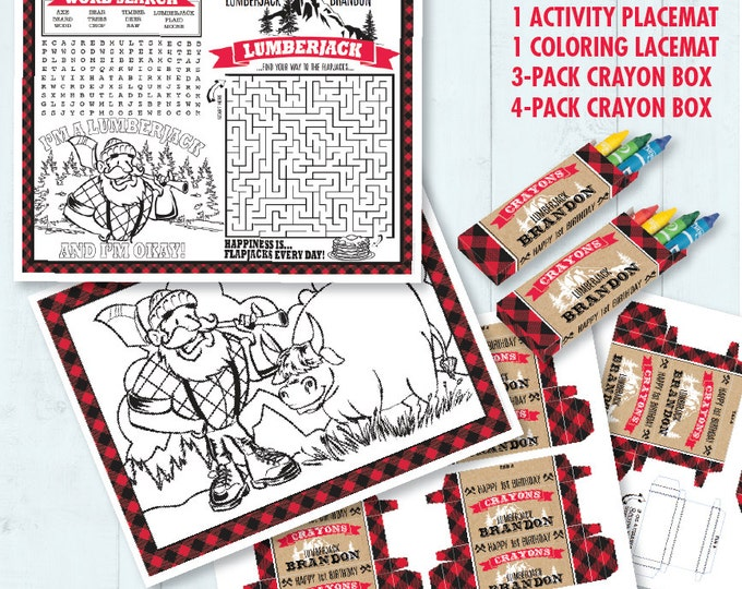 Lumberjack Party Placemat - Lumberjack Birthday , Activity Page, Crayon Box, Game Placemat - DIY Printable Kit INSTANT Download PDF