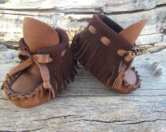 "Baby Moccasins By Desi, Brown Deerskin Leather, 4 1/2"" Long, Girl, Boy, Tribal, Aztec, First Thanksgiving outfit shoes, Winter Wear Boots"
