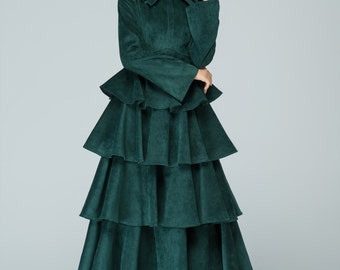 corduroy dress, green dress, prom dress, romantic dress, long dress, party dress, wedding dress, custom dress, fall dress1582
