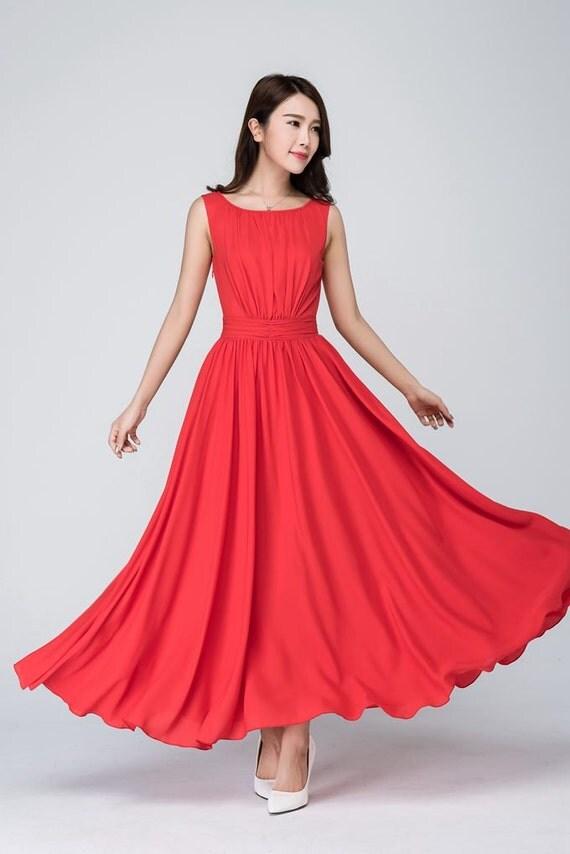 Red chiffon dress, formal dress,Wedding Party dress,Prom Dress,evening dress,maxi dress,vintage style dress, bridesmaid dress,Custom   1555