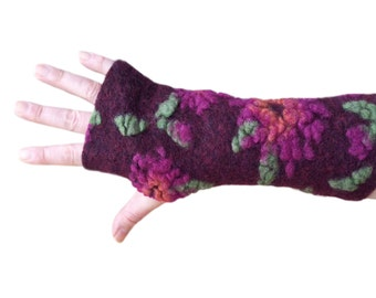 Bordeaux Arm Warmers, Fingerless Gloves,  Wrist Warmers, Wool Fingerless Mittens, Wool Fingerless Gloves, Gauntlets