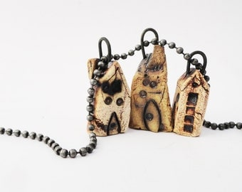 Weird Miniature Necklace, 3 Twisted Clay Houses, Dark House Pendants, Cream Brown Pottery Cottage, House Jewelry, Crooked Shack, 3C