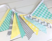 Bunting Fabric Banner, Fabric Flags, Nursery Decor, Photography Prop, Garland, Baby Shower - Yellow, Gray, Grey, Mint Green, Chevron