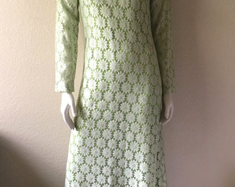 Vintage Women's 60's Mod Dress, Lime Green, White Lace Overlay, Long Sleeve, Full Length (XS/S)