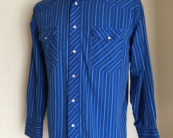 Vintage Men's 80's Wrangler Shirt, Western, Blue, Striped, Long Sleeve (L)