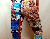Vintage 80s 90s African Tribal Fun Patchwork Pants