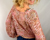 Vintage 70 80s Pink Sequined Beaded Party Batwing Top Blouse