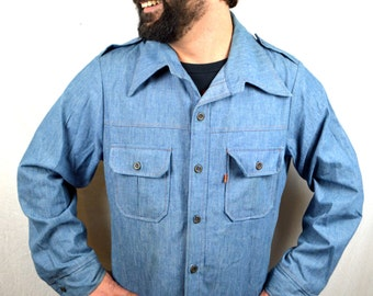 Vintage Levis Chambray Pantela Tops Button Up Orange Tag Shirt