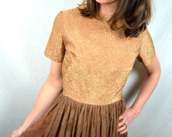 Vintage 1950s 60s Brown Sparkle Chiffon Formal Party Dress - By Madeleine New York