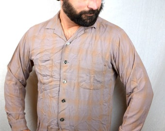 Vintage McGregor 50s 1950s Rayon Button Up Mens Shirt