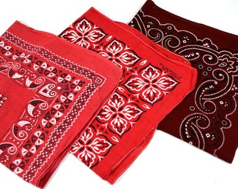 Lot of 3 Red Rockabilly Southwest Collectible Vintage Fast Color Bandana - #B9