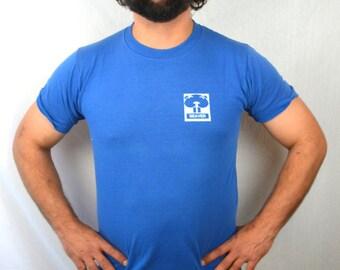 Vintage 80s Beaver Blue Tee Shirt Tshirt