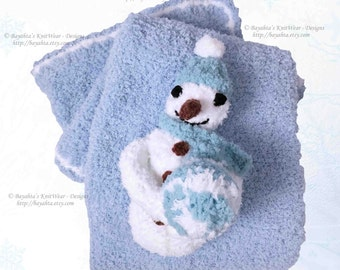 Baby Blanket Boy Hand Knit Blue White Infant Boy Girl Blanket by Bayahta